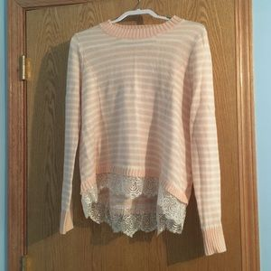 Peach and White striped sweater with lace detail